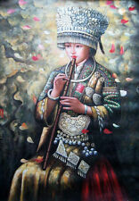 """Art Oil painting beautiful Chinese Hmong girl playing flute on canvas 24""""x36"""""""