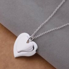 925 sterling Silver Plated Fashion heart Wedding charms pendant necklace AN687