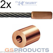 2x 1.5mm Copper Steel Wire Rope End Stop FREE Postage + Packaging!