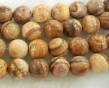 """New 8mm round Chinese Picture stone gemstone loose beads 15"""""""