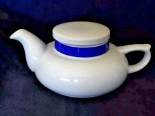 Vintage White & Blue Tea Pot 16 oz Ceramic Toscany Solo Collection Made In Japan