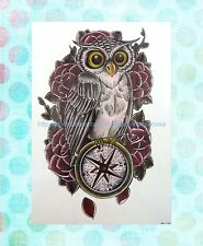 """Temp Tattoo for Adults rose owl extra large 8.25"""" half-sleeve arm tattoos"""