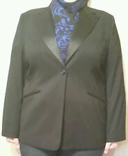 VARIATIONS Gorgeous Lined Black Jacket Sz 22 with Satin Lapels