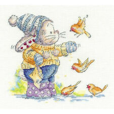 DMC Somebunny To Love Cross Stitch Kit  Feeding The Robins