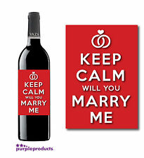KEEP CALM WILL YOU MARRY ME WEDDING PROPOSAL ENGAGEMENT WINE BOTTLE LABEL GIFT