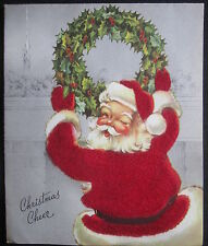 Vintage Christmas Greeting Card Flooked Santa Hanging Wreath a Wink Mid Century
