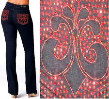 NWT Dereon Studded RED SPARKLE Pocket Fleur Jean BOOTCUT PLUS SIZE 14 W