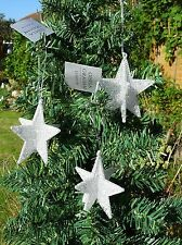 Gisela Graham Set of 3 Silver 5 Points Star  Christmas Tree Hanging Decorations