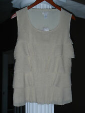 CHICO'S Gold Stardust Sparkle Mesh Lined Tank Top Shell Cami Size 1 (8-10)NWT