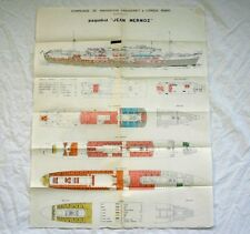 FABRE LINE Paquebot JEAN MERMOZ Color Coded Deck Plan
