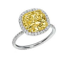 2.32 Ct Halo Eternity Fancy Yellow Cushion Cut Diamond Engagement Ring SI2 GIA