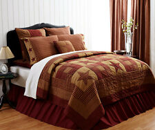 PRIMITIVE STAR 3pc King QUILT SET : RED BROWN PLAID RUSTIC PATCH COMFORTER