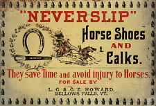 """NEVERSLIP HORSE SHOES AND CALKS"" ADVERTISING METAL SIGN"