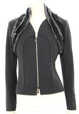 Vassalli Charcoal Wool Ruffle Collar Zip Up Jacket Size IT 44