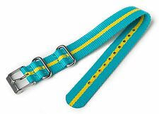 NEW-TIMEX 16MM WEEKENDER TEAL+YELLOW STRIPE NYLON REPLACEMENT BAND,STRAP T7B992