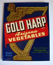 1940s Beautiful Gold Harp Vegetable Crate Label Arizona