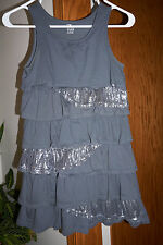 EUC Childrens Place holiday girl dress gray sparkle ruffle layers cotton 10-12L