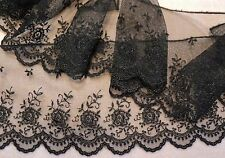 "4"" WIDE FRENCH EMBROIDERED TULLE SCALLOP EDGE LACE-FLORAL -BLACK - BTY"