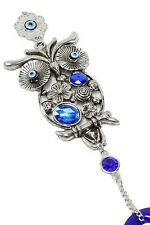 """Turkish Blue Evil Eye 3"""" Crystal Owl Wall Hanging Protection Amulet Home Decor"""