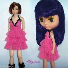Blythe Momoko Hujoo Berry Pureneemo Outfit Pink Layer Lace Flower Low-Cut Dress