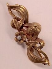 ANTIQUE 14K GOLD ART NOUVEAU BROOCH with WOMAN and PEARL-CENTERED FLOWER