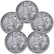 Lot of 5 - 2016 Great Britain 2 Pound 1 Troy Oz Silver Britannia Coins SKU38067
