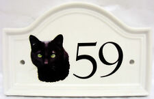 Black Cat House Door Number Plaque Ceramic Black Cat House Sign Any Number