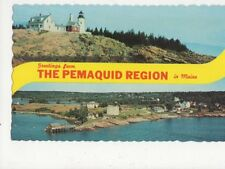 Lighthouse At Pemaquid Point Maine USA Old Postcard 369a ^