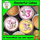 24 PERSONALISED MINNIE MOUSE 3rd BIRTHDAY EDIBLE RICE PAPER CUP CAKE TOPPERS