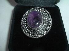 VINTAGE ESTATE LARGE AMETHYST STERLING SILVER RING, SIZE 7 IN RING BOX