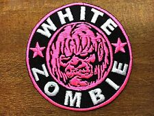WHITE ZOMBIE ROB HEAVY METAL Embroidered Easy Iron On Pink Patch #02