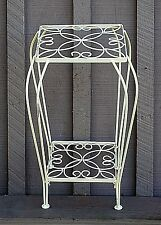 Vintage Style Wrought Iron White Two Tiered Plant Stand Home Garden Patio Tool