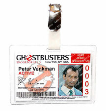 Ghostbusters Peter Venkman ID Badge Proton Pack Cosplay Prop Costume Christmas
