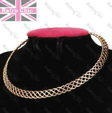 BOHO 1cm thick GOLD PLATED metal WEAVE COLLAR NECKLACE choker PLAIT celtic