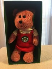 New Starbucks Limited Edition Red Holiday Apron Bearista Girl Teddy Bear 2016