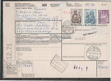 PAKETKARTE Beleg 1971 SCHWEIZ BLANKENBERGE BASEL KAPPELERHOF Perfin Lochung
