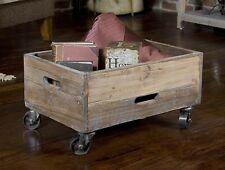 TUSCAN FARMHOUSE Antiqued Reclaimed Wood RUSTIC FACTORY CART