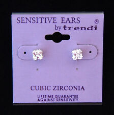 Silver Square Cut Cubic Zirconia 5 mm Stud Earring  FOR SENSITIVE EARS!!!