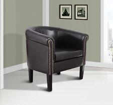 Elegant Faux Leather Tub / Barrel Club Arm Chair w/ Nailhead Accents - Black