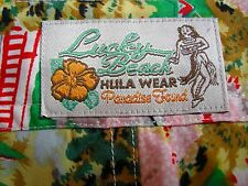 Hawaiian Print Cherry Blossoms VTG Lucky Beach Hulu Women's S pants Rayon EUC