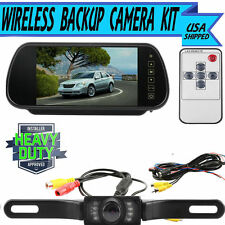 "7"" LCD Screen Car Rear View Backup Mirror Monitor+Wireless Reverse IR Camera @W@"
