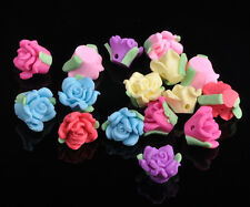 30Pcs Rose Polymer Fimo Clay Flower Shape Loose Spacer Beads Multi-color 11-13mm