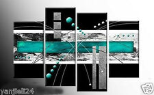 4pc LARGE TURQUOISE BLACK GREY ABSTRACT CANVAS (No Frames)