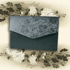 A6 DIY POCKETFOLD WEDDING INVITATIONS BLACK BRODERIE ENVELOPE & BLANK INSERTS!
