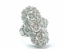 Platinum Vintage Art Deco Round Cut Diamond WIDE Jewelry Ring 4.58Ct