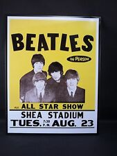Metal Tin Picture Sign Beatles in Person All Star Show Shea Stadium Tues.Aug 23