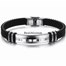 Men's Stainless Steel Bracelet Black Silicone Wristband Birthday Christmas Gift