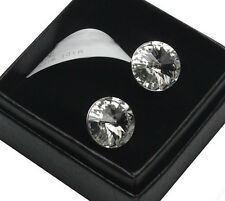Sterling Silver Stud Earrings made with Swarovski Crystals 12mm Rivoli