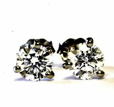 14k white gold .90ct round solitaire 3-prong diamond stud earrings .8g estate