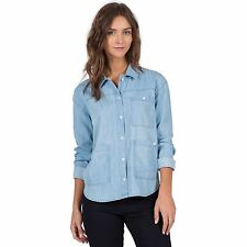 2016 NWT WOMENS VOLCOM BLU BELLS LONG SLEEVE SHIRT $60 S ocean chambray button